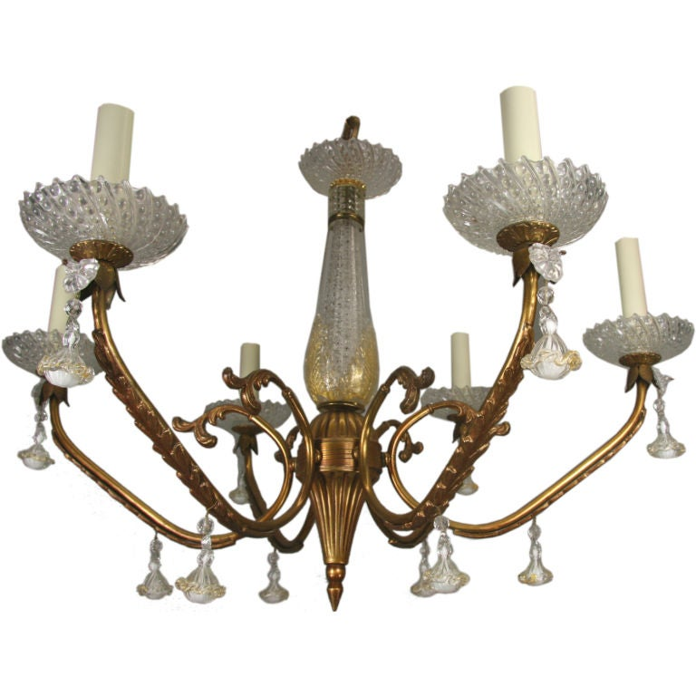 ON SALE Murano Glass Gold Dust Brass Chandelier, circa 1940s For Sale