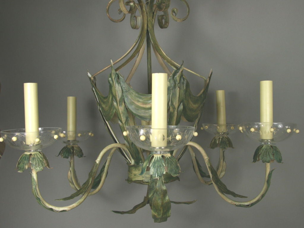 ON SALE Leafy Green Tole Ceiling Fixture 2