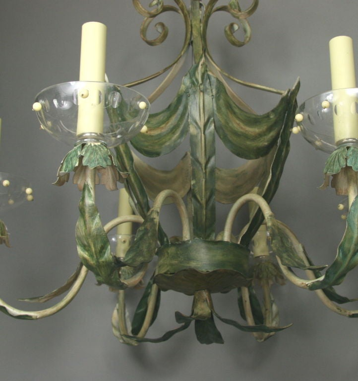 ON SALE Leafy Green Tole Ceiling Fixture 3