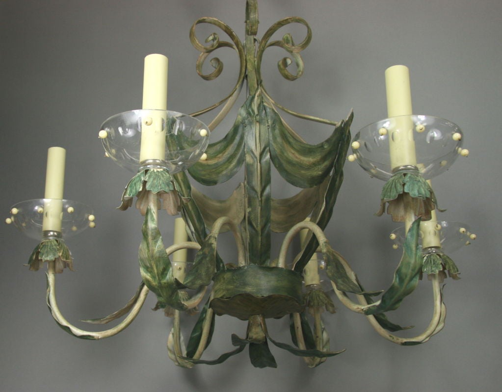 ON SALE Leafy Green Tole Ceiling Fixture 4