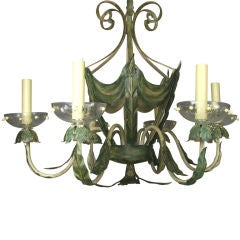 ON SALE Leafy Green Tole Ceiling Fixture