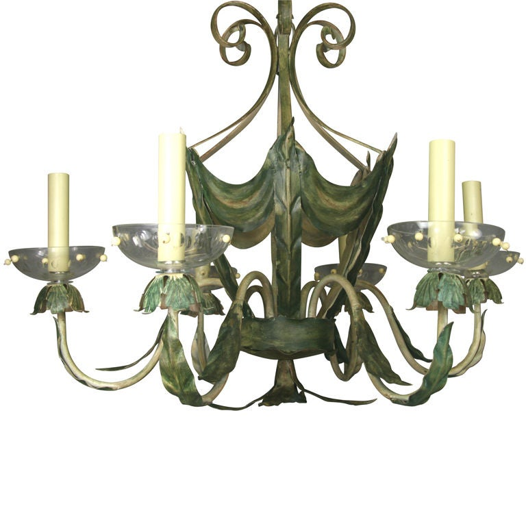 ON SALE Leafy Green Tole Ceiling Fixture 1