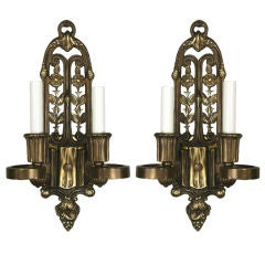 Pair of English Cast Bronze Sconces, circa 1920s