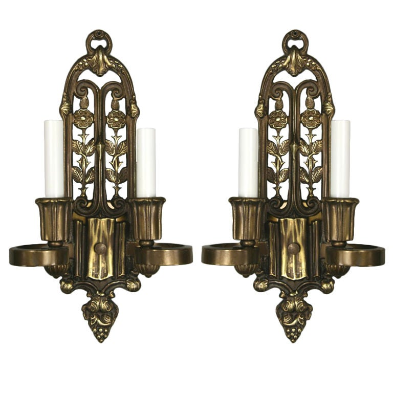 Pair of English Cast Bronze Sconces, circa 1920s For Sale