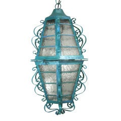 ON SALE Scrolled Iron Turquoise Lantern