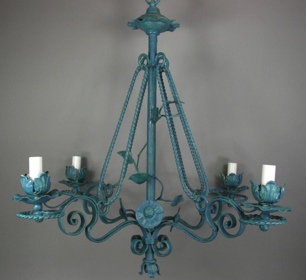 Turquoise Leafy Four Light Chandelier At 1stdibs