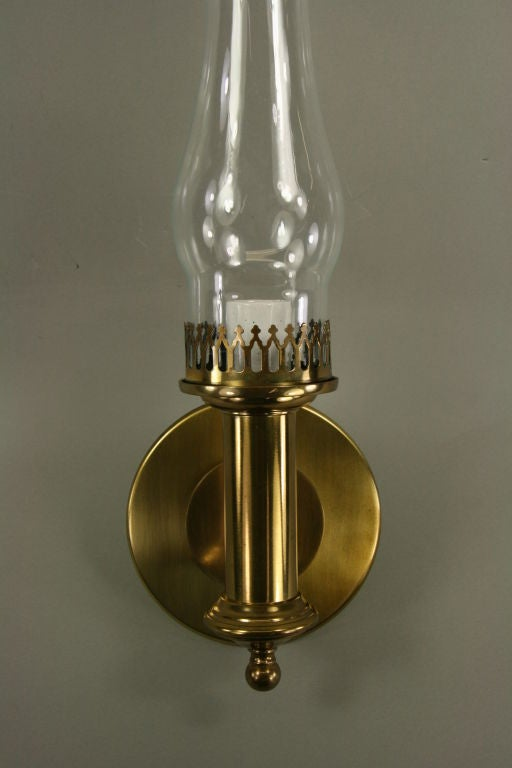Brass Hurricane Wall Sconces : Large Pair Brass Hurricane Sconce at 1stdibs