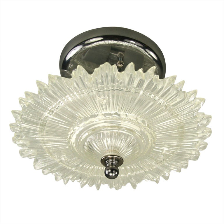 Sunburst Glass Semi Flush Mount/ wall sconce (Two available) at 1stdibs