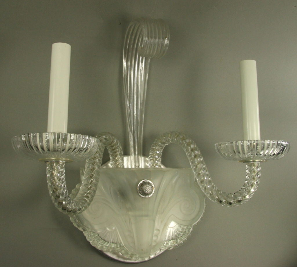 Wall Lights With Rope : Pair Glass Rope Double Arm Sconce at 1stdibs