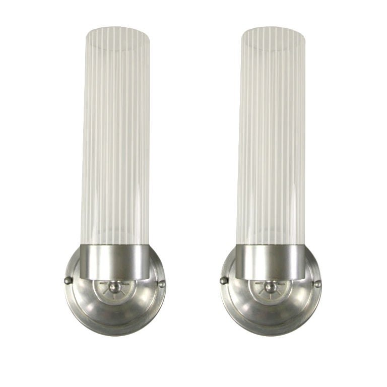 Cylinder Glass Wall Sconces : Pair Cylinder Stripped Glass Moderne French Sconces at 1stdibs