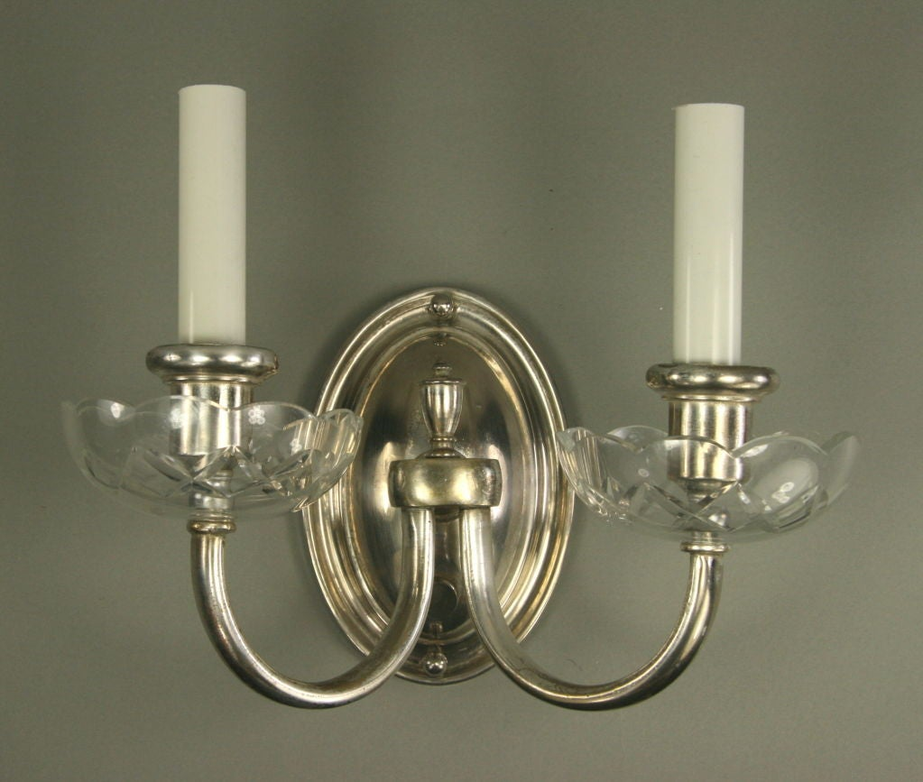 Pair Silverplate Crystal Double Arm Sconce at 1stdibs