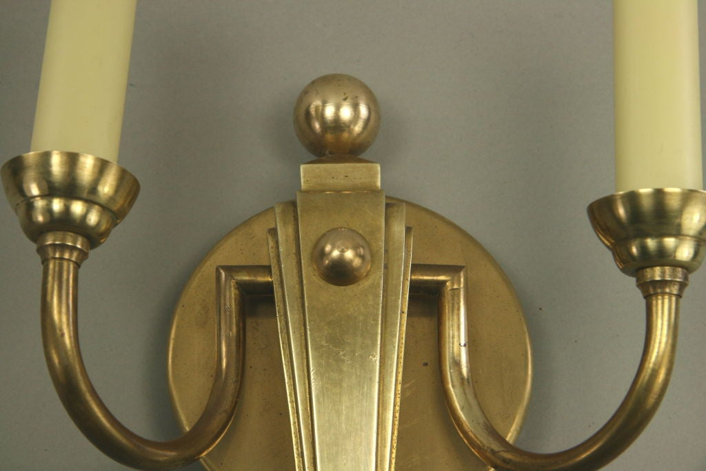 Pair of Deco French Brass Sconce For Sale 1