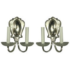 Pair of 1920s Silverplated Bubble Glass Sconce