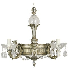 Ornate Silver Crystal Chandelier
