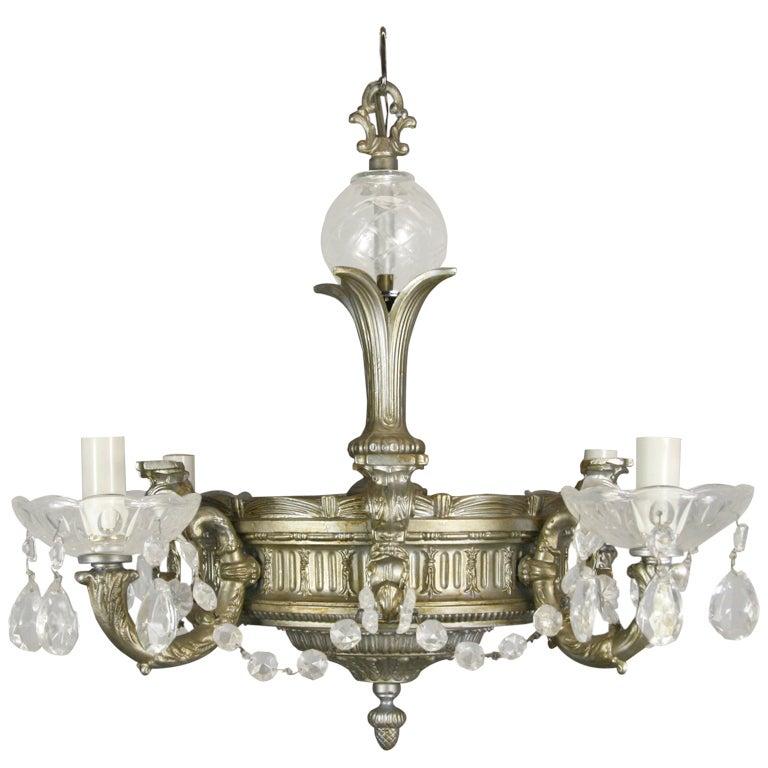 Ornate Silver Crystal Chandelier For Sale at 1stdibs