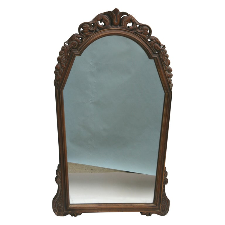 ON SALE Italian Carved Wood Mirror, circa 1920s 1