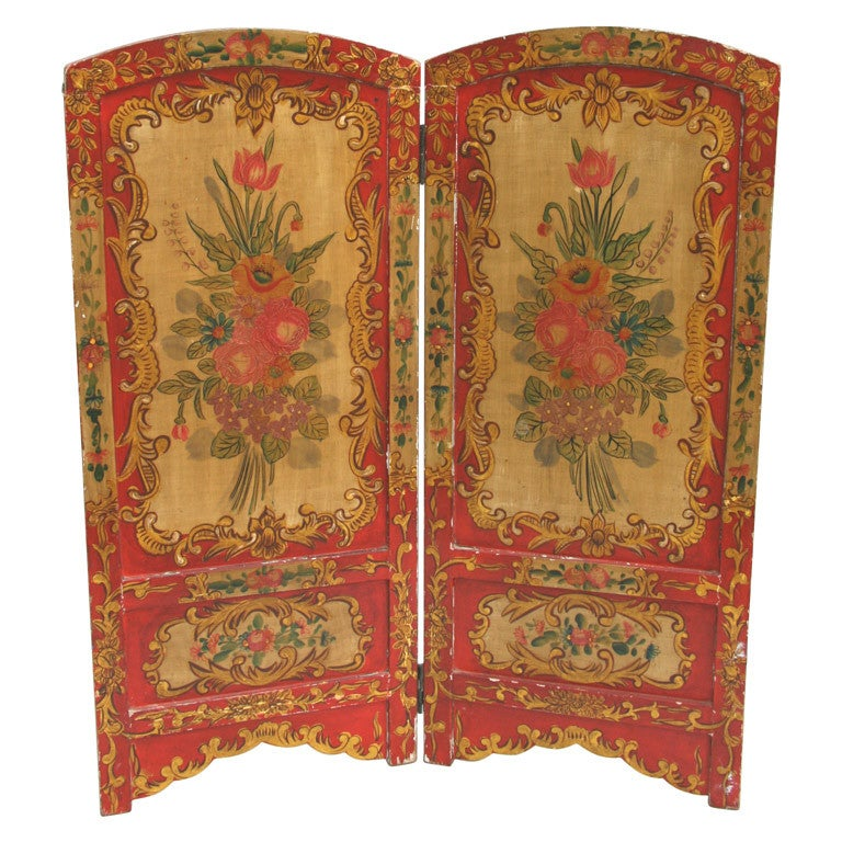 Late 19th century italian hand painted wood screen at 1stdibs for Painted screens room dividers