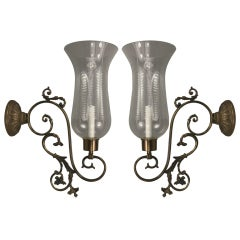Pair of Large-Scale Scrolled-Arm Hurricane Sconces
