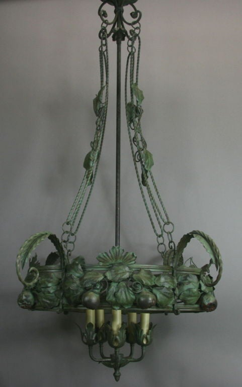 Mid-20th Century Large-Scale Italian Handmade Chandelier For Sale