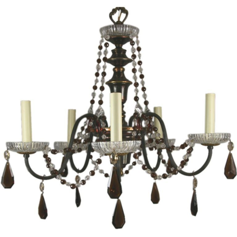 ON SALE Amber Crystal Beaded Chandelier, circa 1930s