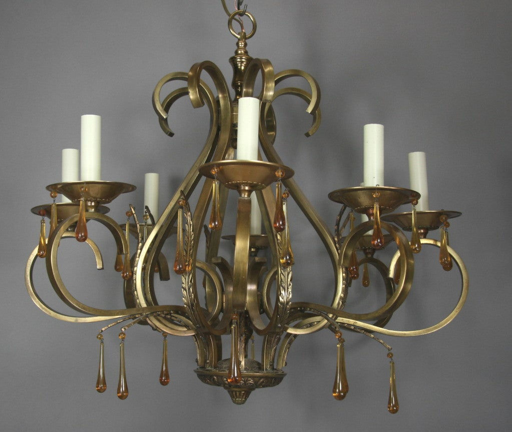 Scrolled Arm Amber Glass and Brass  Chandelier 2