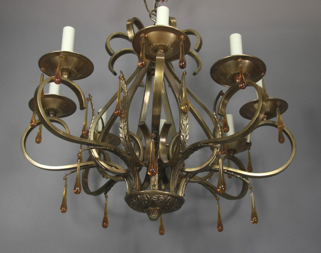 Scrolled Arm Amber Glass and Brass  Chandelier 4