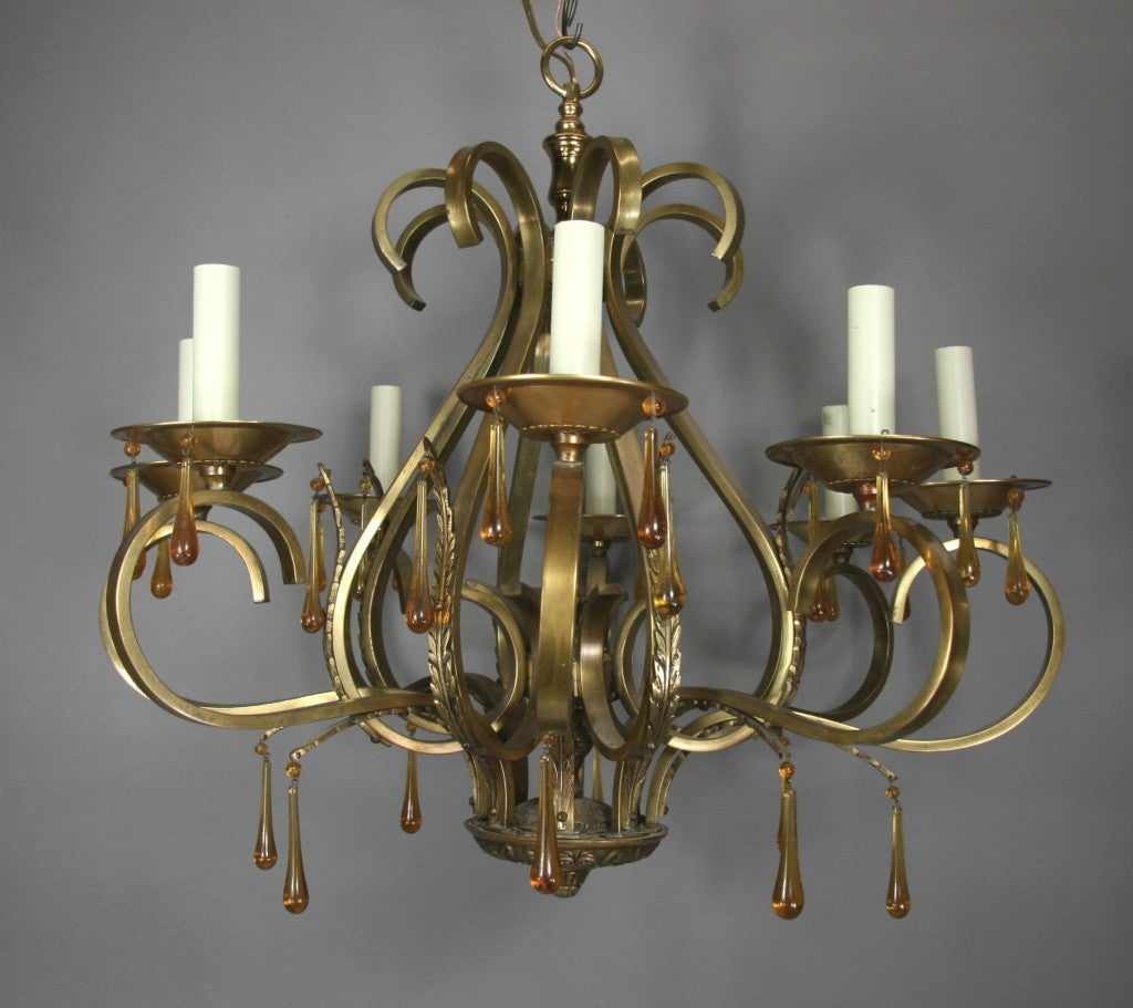 Scrolled Arm Amber Glass and Brass  Chandelier 5