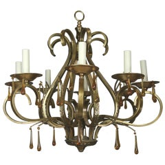 Scrolled Arm Amber Glass and Brass  Chandelier