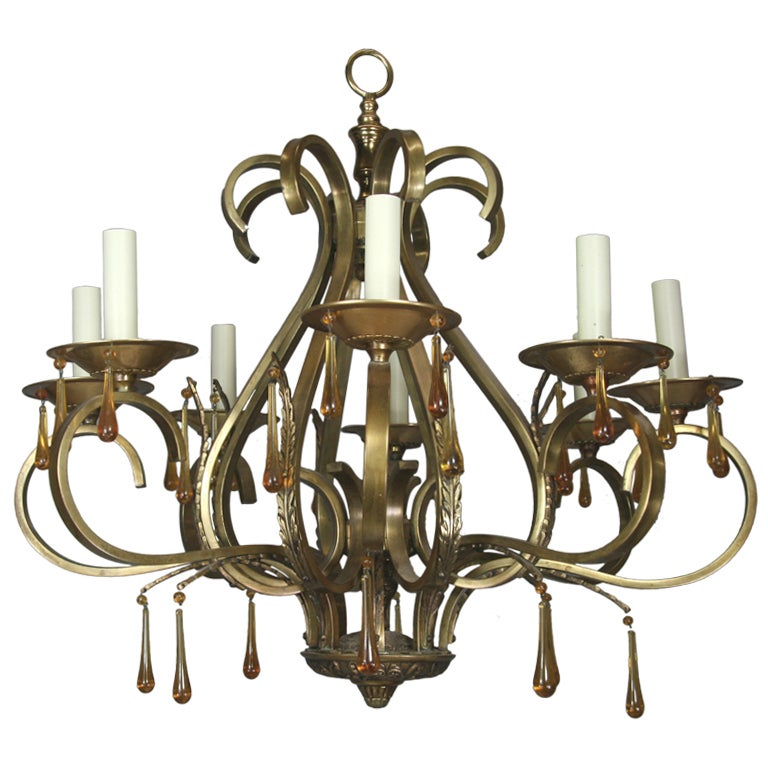 Scrolled Arm Amber Glass and Brass  Chandelier 1