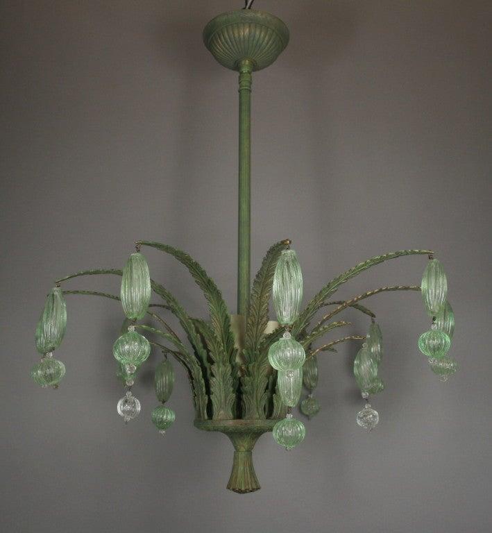 foliate green murano glass ceiling fixture at 1stdibs. Black Bedroom Furniture Sets. Home Design Ideas