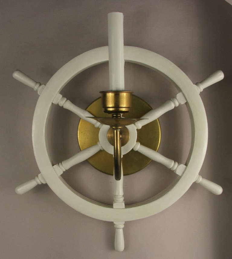 Pair Of Nautical Ships Wheel Sconce For Sale At 1stdibs