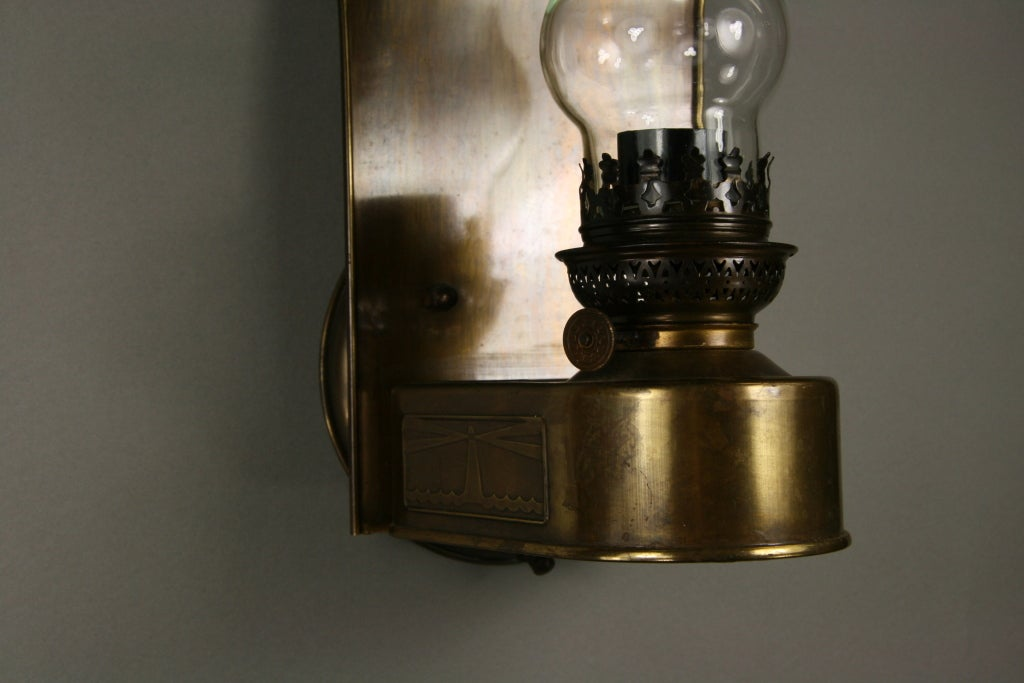 Brass Hurricane Wall Sconces : Pair Aged Brass Hurricane Sconce at 1stdibs