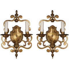 Pair of Scrolled, Double Arm Sconces
