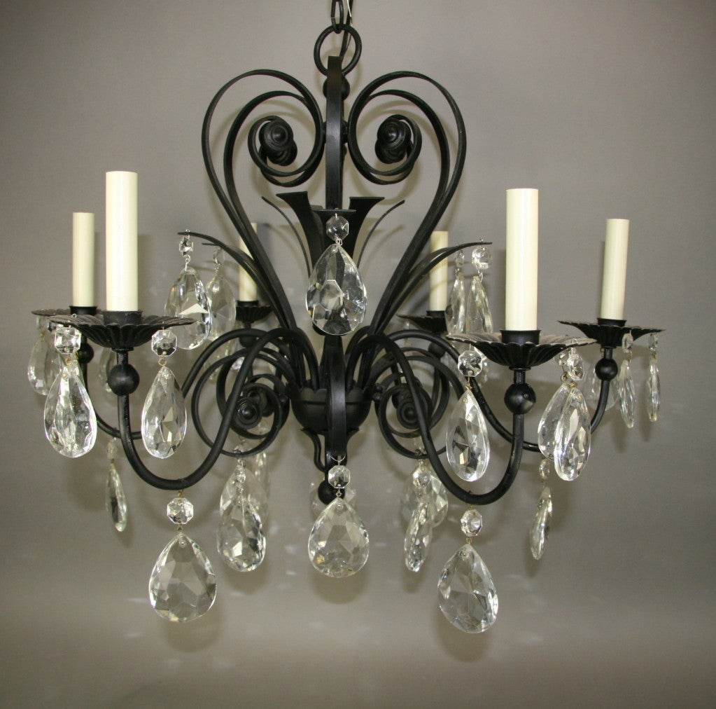 ON SALE Black Scrolled Crystal Chandelier For Sale At 1stdibs