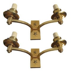 Pair Of Brass Star Sconces