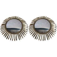 Pair of Sunburst Convex Mirrors