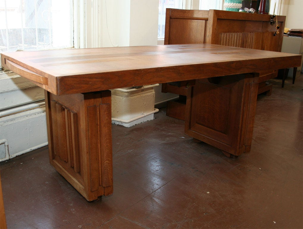 Charles Dudouyt dining table. Located in NY  could extend with a pair of leaves (to be made on order).
