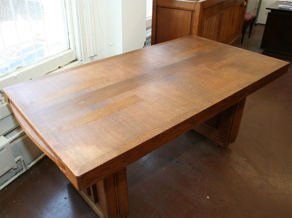 Oak Charles Dudouyt Dining Table For Sale