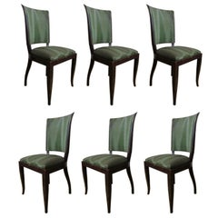 Set of Six High Back Art Deco Chairs