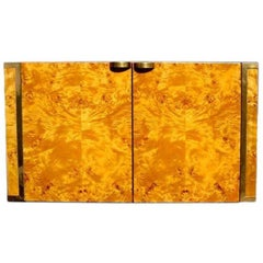 Burl and Brass Cabinet by JC Mahey for Roche Bobois
