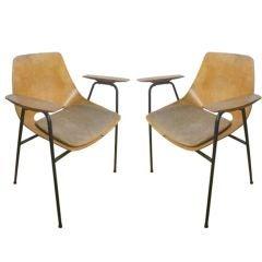 Pair of Rare Tonneau Armchairs designed by Pierre Guariche