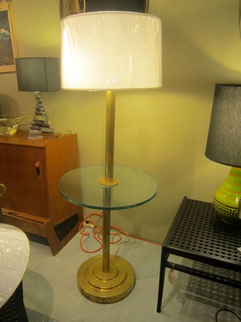 French Art Deco Brass Floor Lamp For Sale