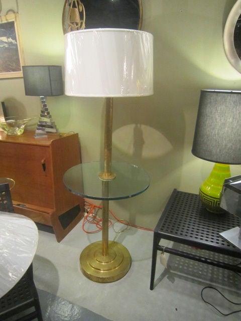 Glass Art Deco Brass Floor Lamp For Sale