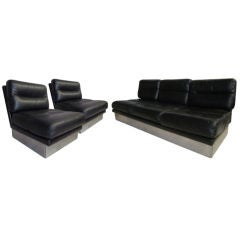 Jacques charpentier Leather Sofa and Pair of Chairs