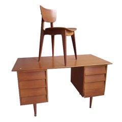 Oak Desk and Chair Designed by Roger Landault