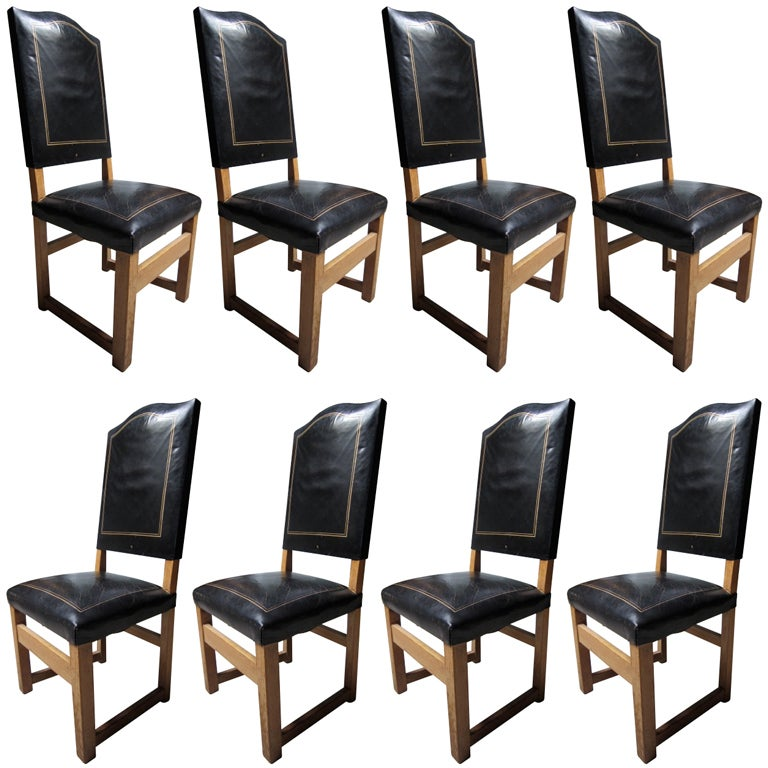 Set Of 8 High Back Leather Dining Chairs At 1stdibs