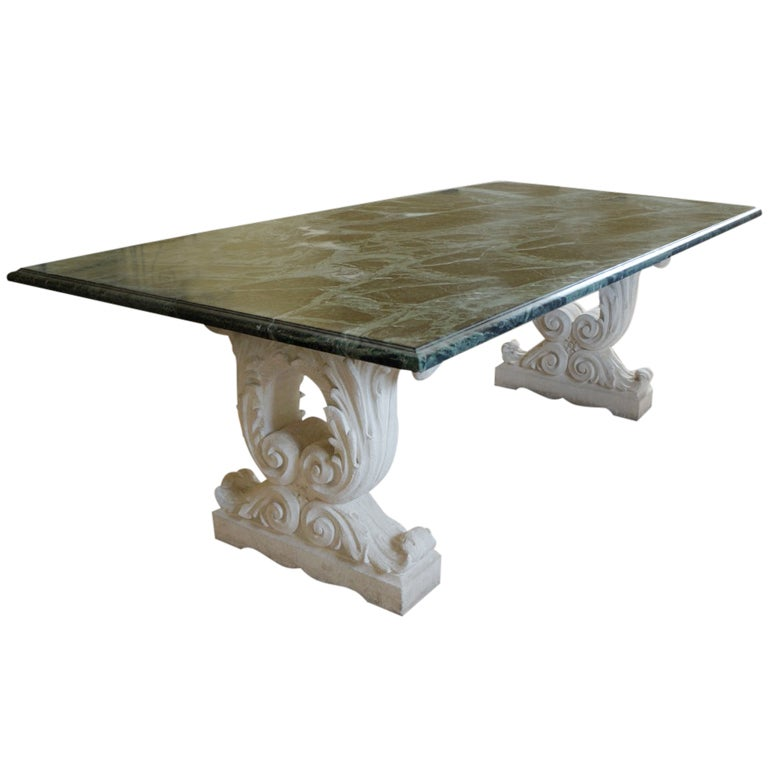 Exceptional marble ad stone dining table at 1stdibs - Marble dining table prices ...