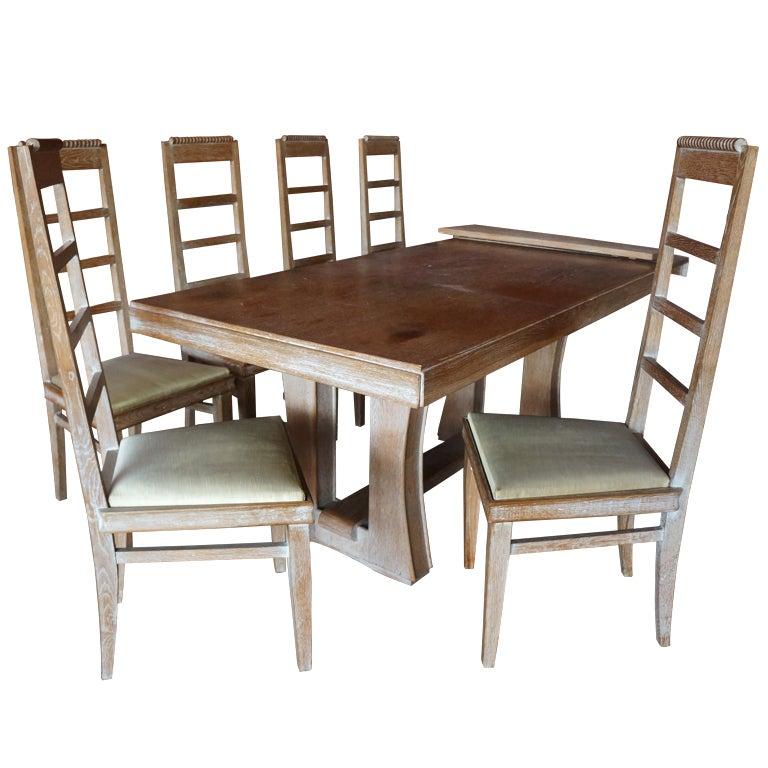 Cerused Oak Dining Set For Sale