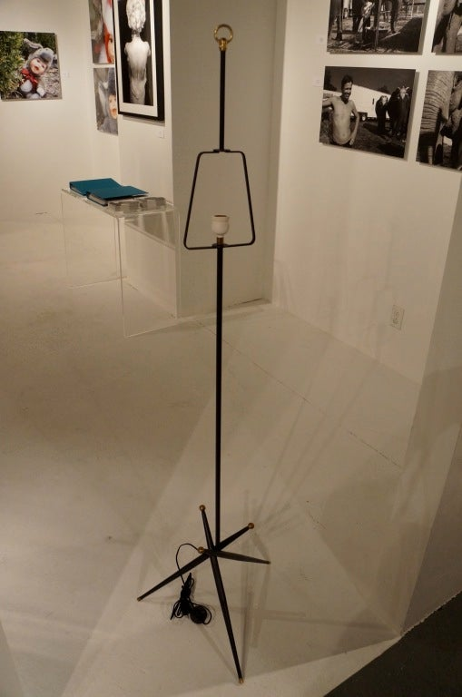 Brass 1950's Black Lacquered Floor Lamp For Sale