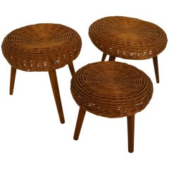 Set of Three Straw Stools